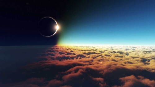clouds outer space eclipse solar eclipse 1920x1080