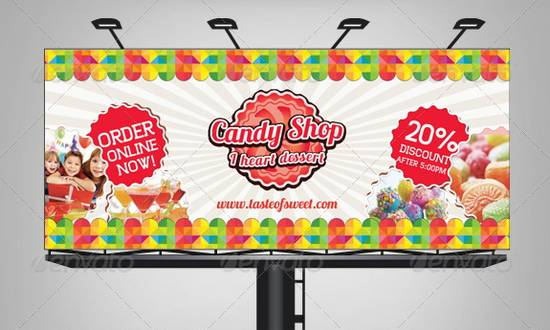 Sweet Candy Shop Billboard Template