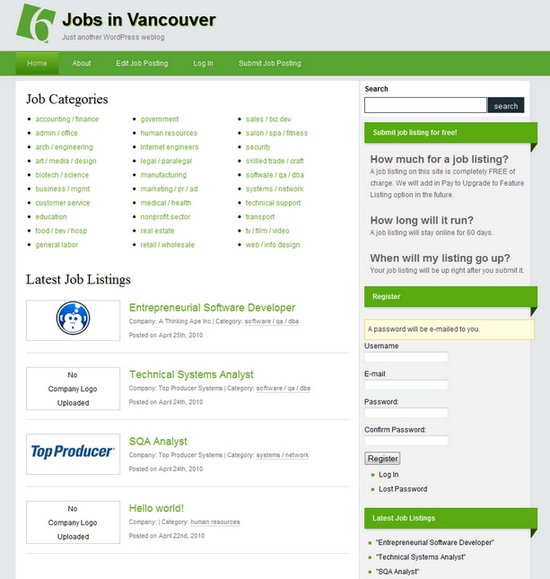 10 Powerful Job Board Themes for Wordpress | Ginva