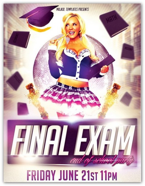 Final Exam Party Flyer Template
