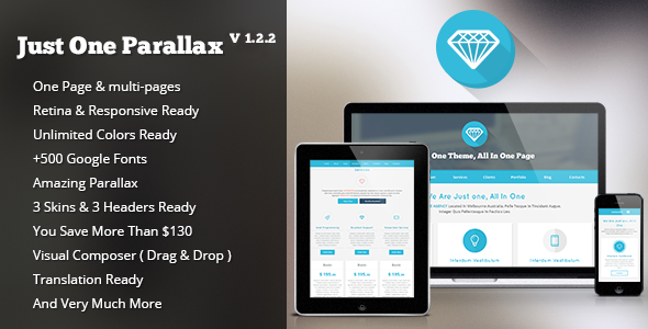 Just One Parallax  Portfolio WordPress Theme