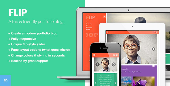 FLIP: A Unique Colorful  Portfolio WordPress Theme