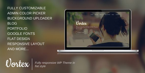 Vortex Parallax Flat  Portfolio WordPress Theme