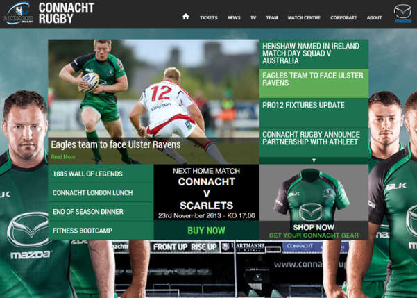 Connacht Rugby Sport Web Design