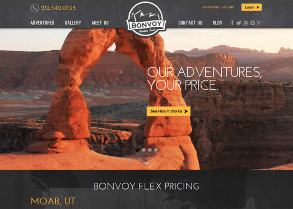 Bonvoy Adventure Travel Sport Web Design