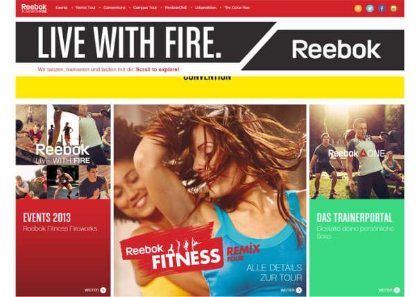 Reebok Fitness Fireworks Sport Web Design