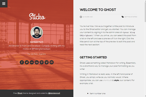 sticko free ghost theme