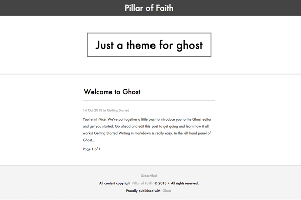 pillar free ghost theme