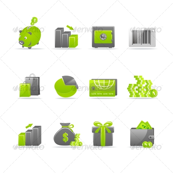 glossy 4 business icons