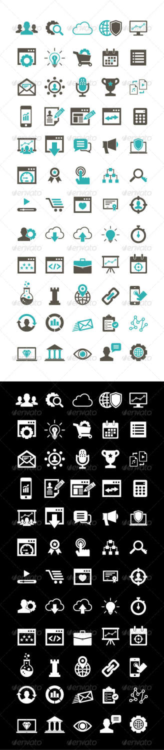 60 seo business icons