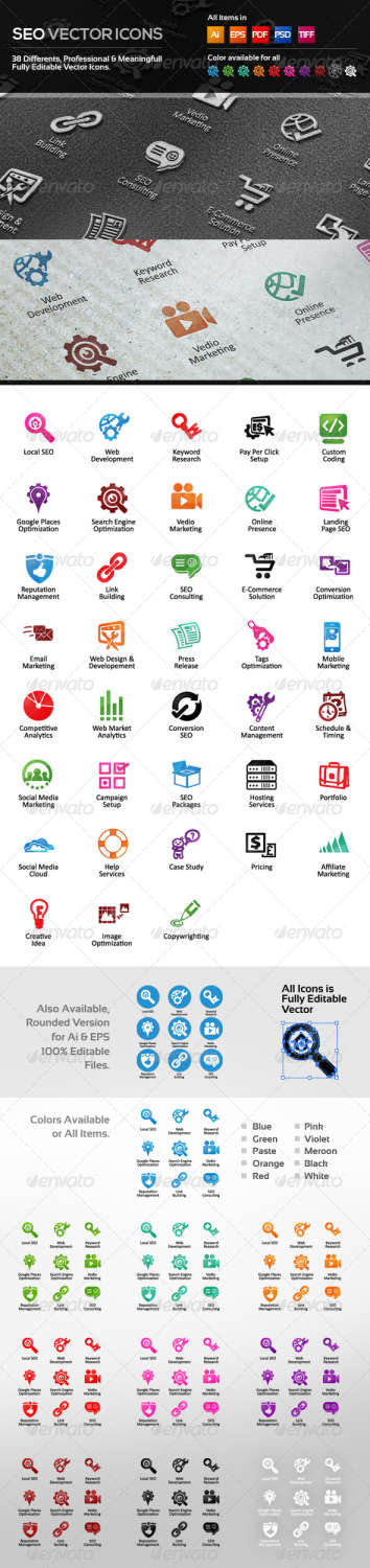 seo vector icons