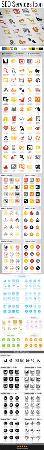 seo services pack business icons