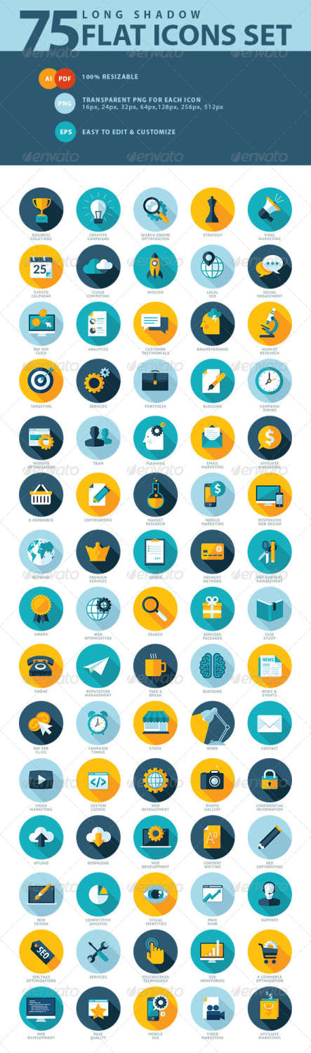 flat design seo icons
