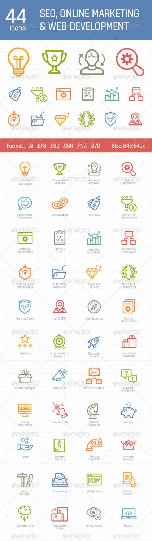 44 seo, online icons