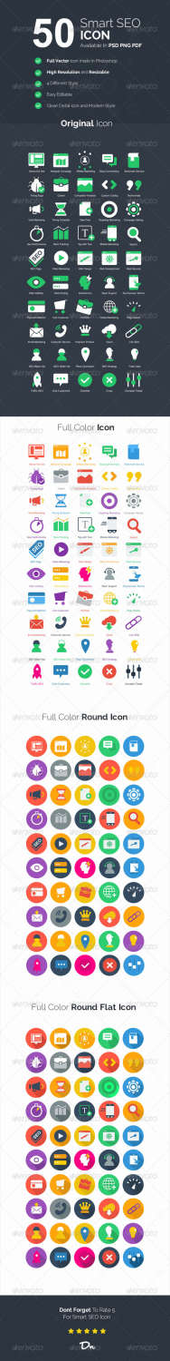 50 smart seo business icons