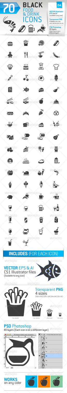 70 food drink icons