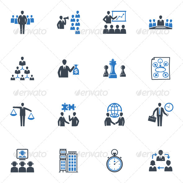 management business icons set