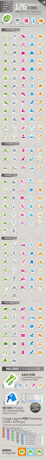 176 papercut business icons set