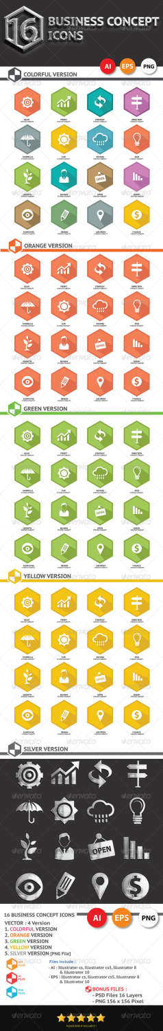 16 concept business icons