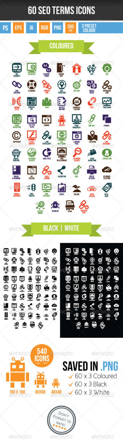 60 seo terms icons