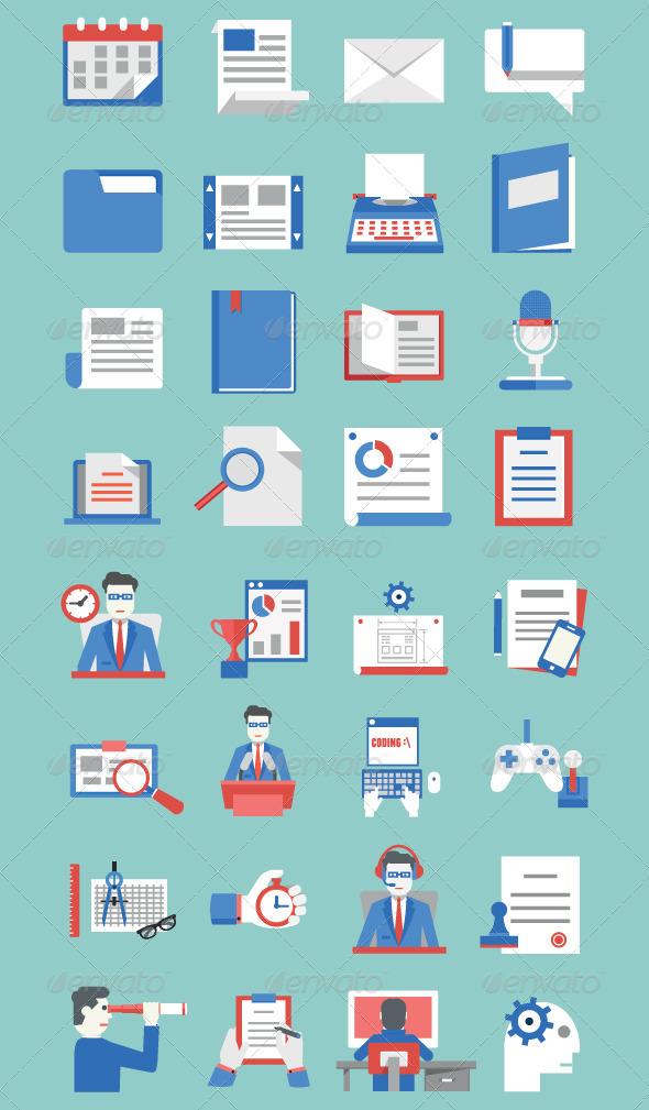documents bsiness development business icons set