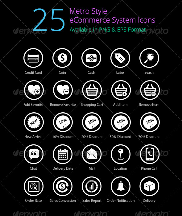 25 metro ecommerce icons set