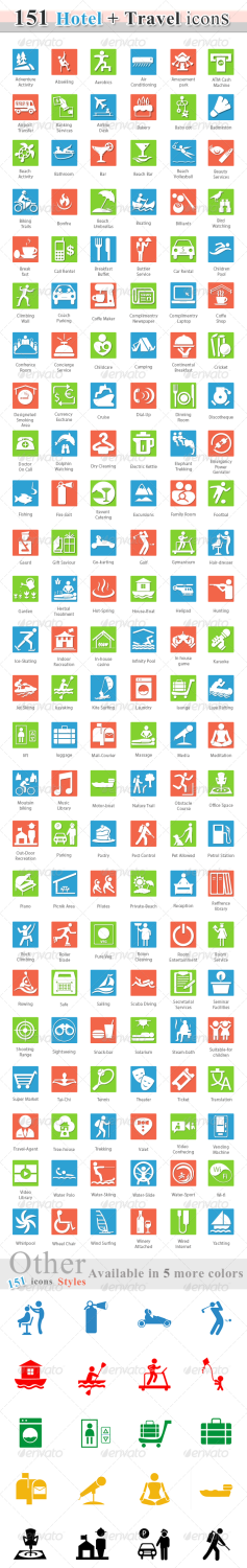 76 travel hotel business icons