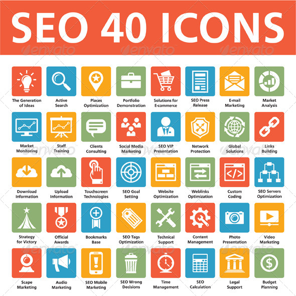 seo 40 search business icons