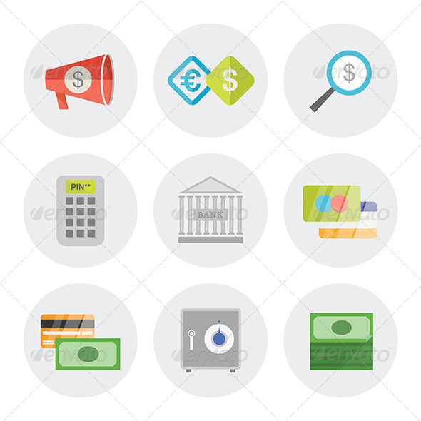 finance in flat business icons set