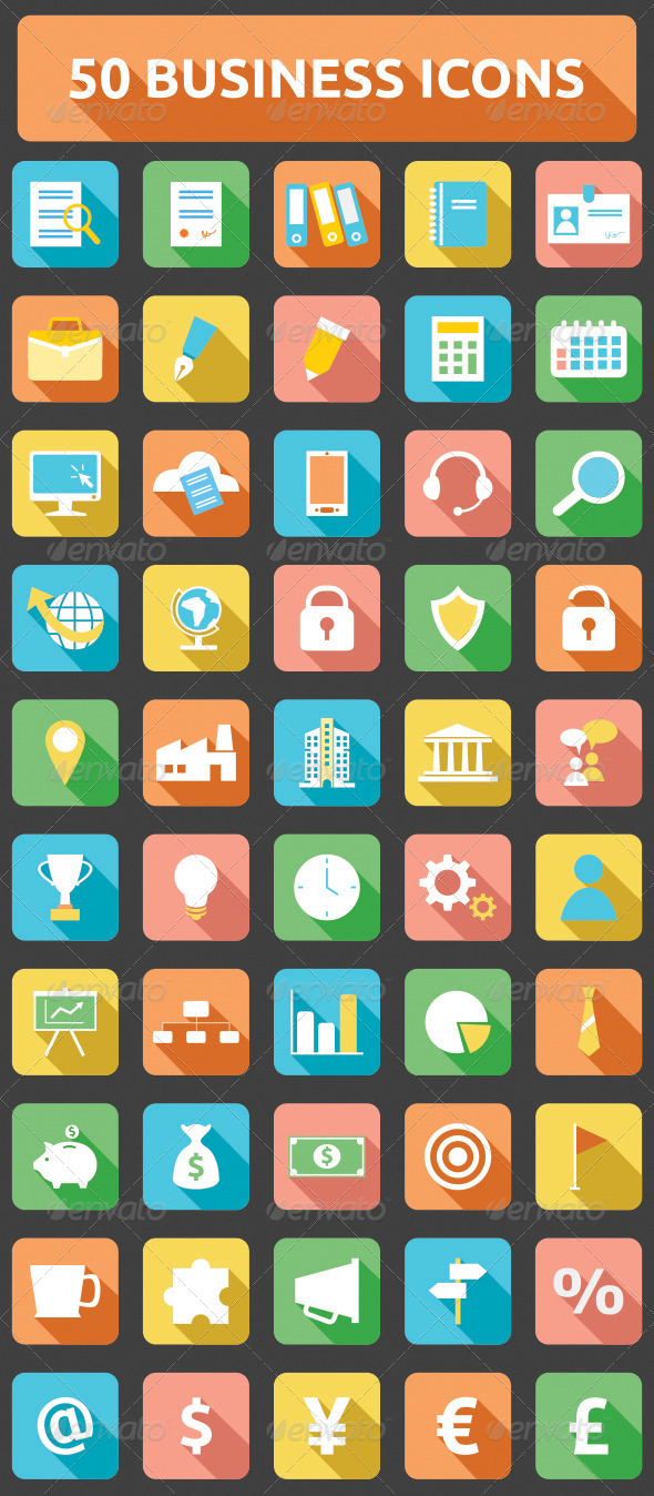 50 flat long business icons