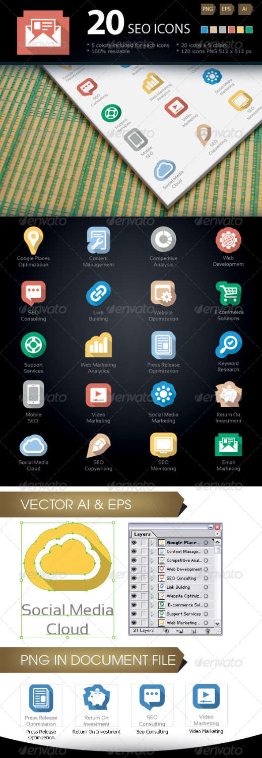 seo services business icons