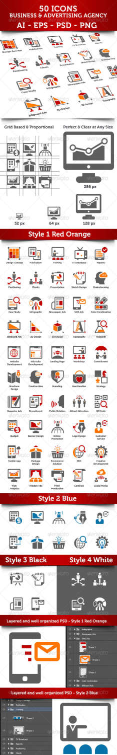 advertising agency icons set