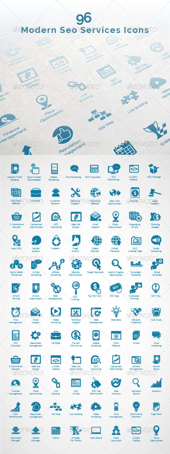 96 modern seo business icons