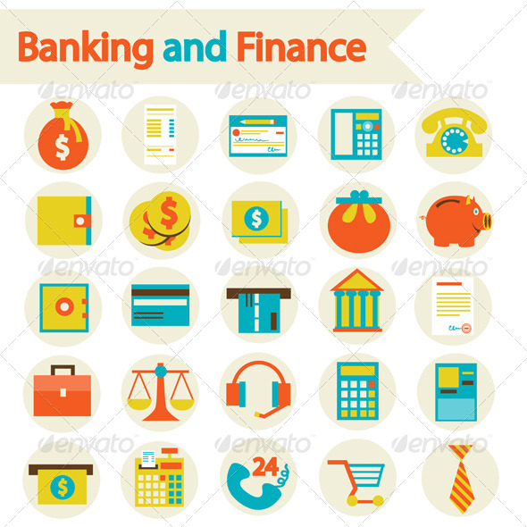 banking finance business icons