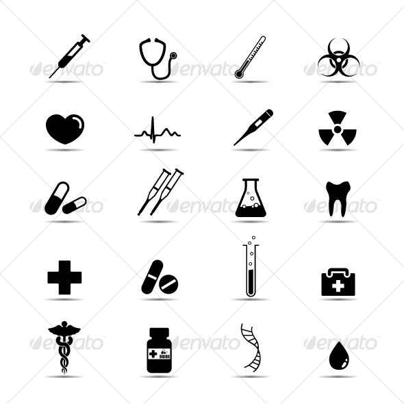 black white medical icons set