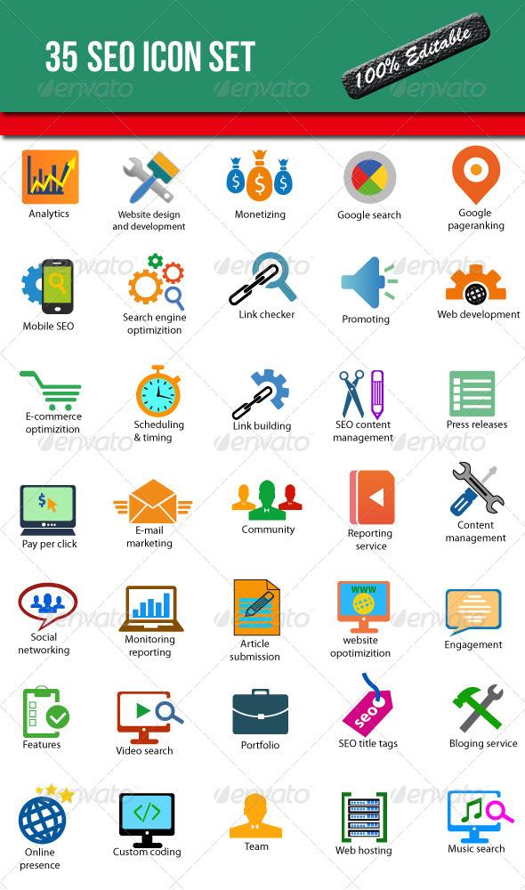 35 seo icons