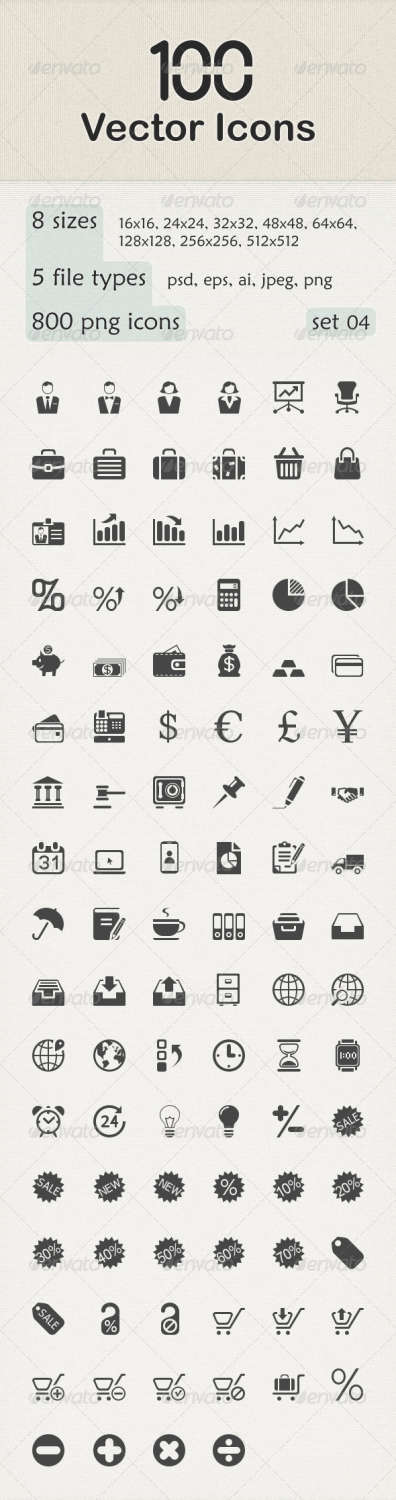 100 vector business icons set
