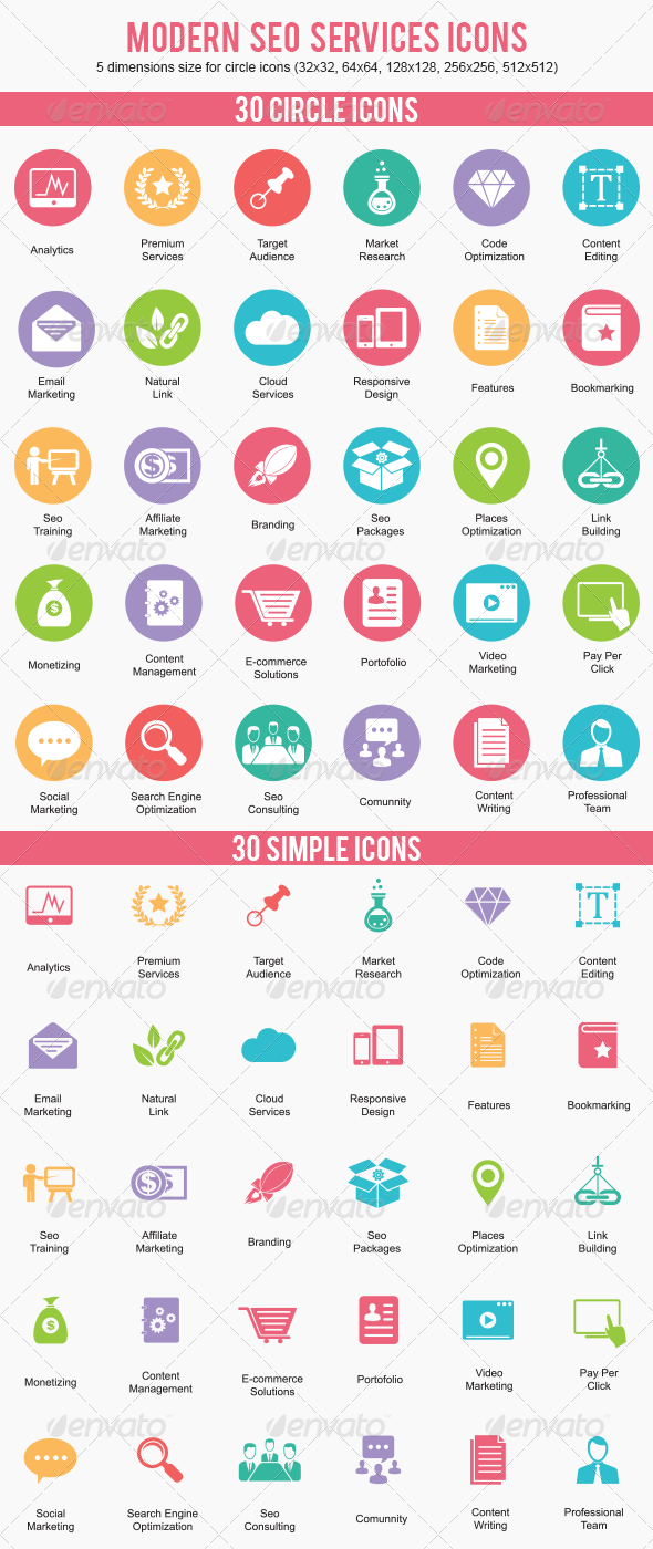 modern seo services business icons