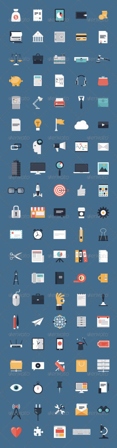 finance flat business icons