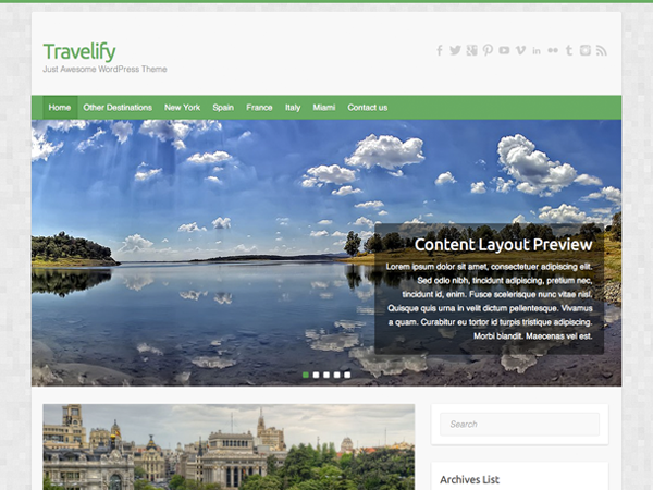 free travelify ecommerce template