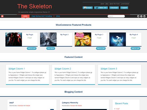 free the skeleton ecommerce wordpress theme