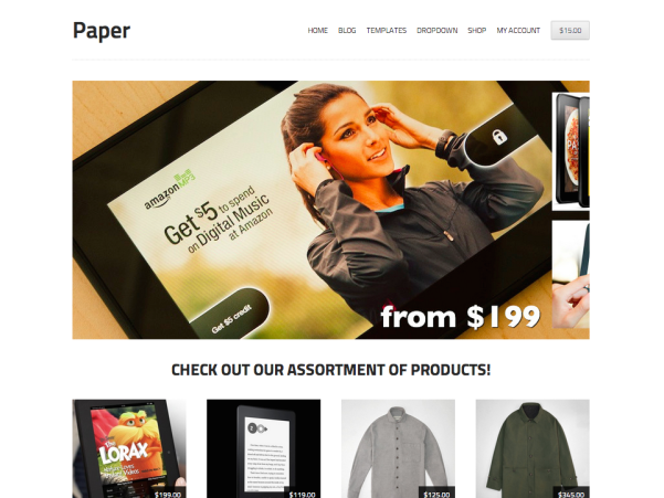 free storefront paper ecommerce wp theme