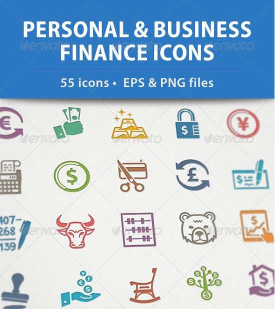 personal finance icons set