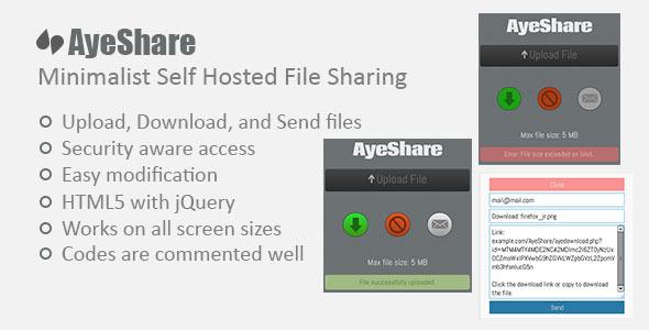 AyeShare Minimalist Self Hosted File Sharing