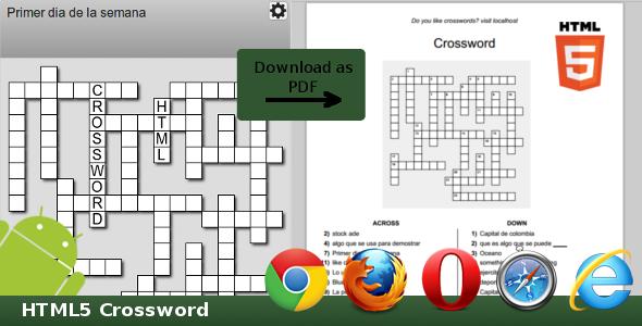 Html5 Crossword - Html5 Game Script