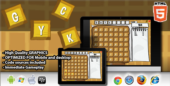 Waffle Html5 Word Game - Html5 Game Script