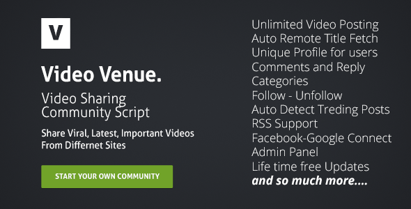 Video Venue Community Script - Php Images & Media Script
