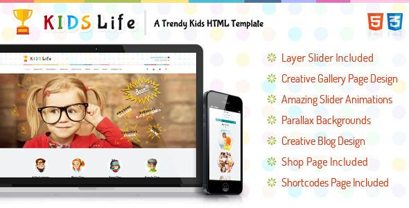 Kids life html retail children template