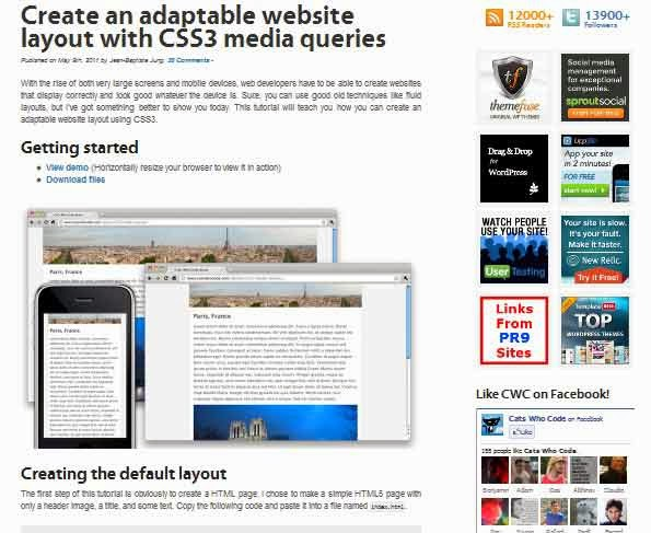 Create an adaptable website layout with css3 media queries tutorial
