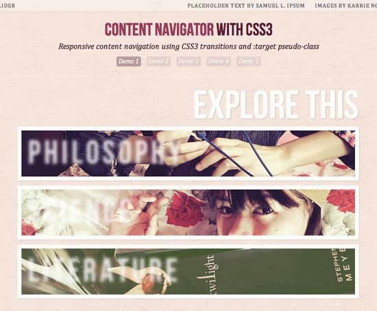 Responsive content navigator with css3 tutorial